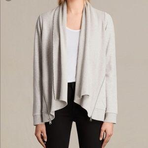 All Saints grey draped zipper cardigan